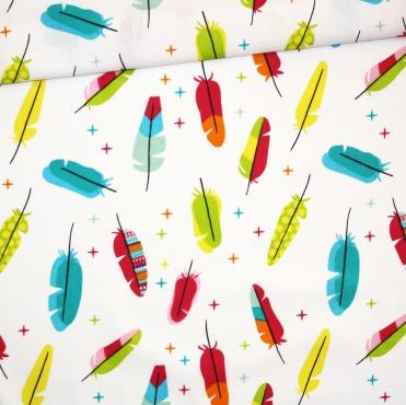 Tissu plumes colorés