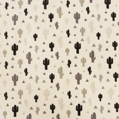 Tissu cactus noir et gris