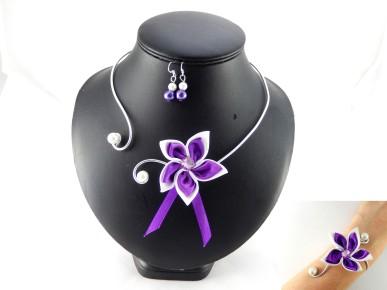 Parure mariage fleur violet