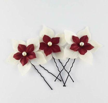 pics à chignon fleurs ivoire et bordeaux