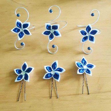 bracelet et pic à chignon fleurs bleu roi