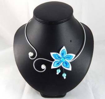 collier de mariée Eline blanc et turquoise
