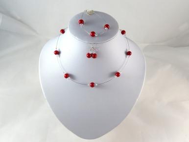 parure perles rouge et cristal