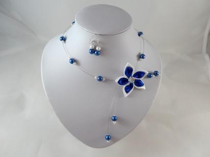 parure fleur bleu roi
