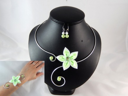 parure fleurs mariage vert anis et blanc