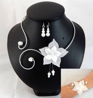Parure Eline fleur blanche