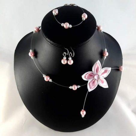 Parure fleur rose