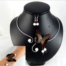 Parure papillon marron ivoire