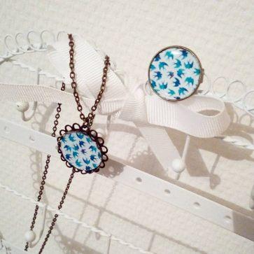 Bijoux fantaisie oiseaux bleus