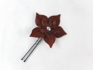 barrette à chignon fleur marron