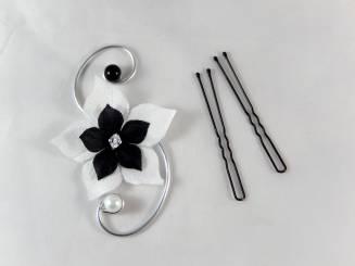 bijou de cheveux fleur noire et blanche